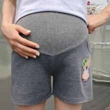 Solid Color Cartoon Stomach Lift Soft High Waist Maternity Shorts Casual Plus Size Adjustable Elastic Pregnant Short Pants