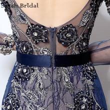 Navy Blue Long Sleeve Evening Dress 2017 Sheer High Neck Crystal Embroidery Backless Long Prom Dress Dubai Rode De Soiree LSX014
