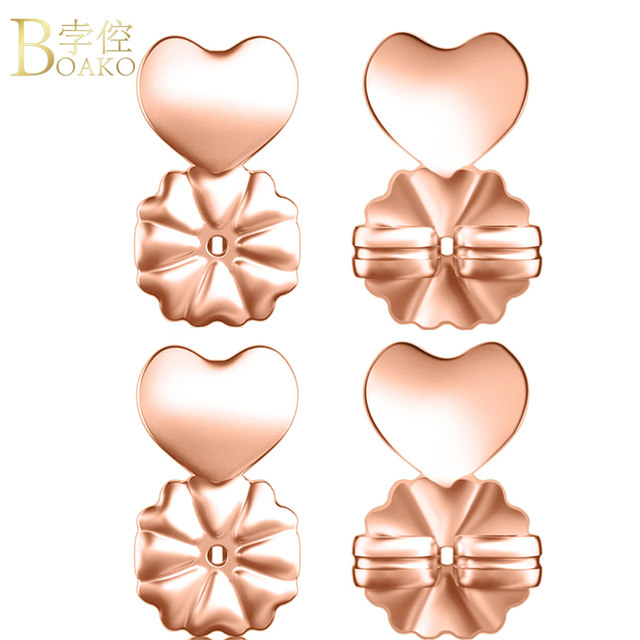 Boako Earring Backs Support Lifts Hypoallergenic Fits All Post Earrings Rose Gold