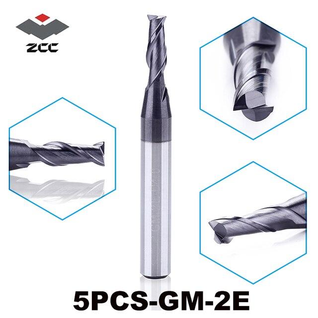 """5 יח\חבילה גבוהה באיכות ZCC. CT GM 2E ביצרו קרביד cnc 2 טחנת קצה שטוחה חליל עם שוק ישר כרסום קאטר 1.0 6.0 מ""""מ"""