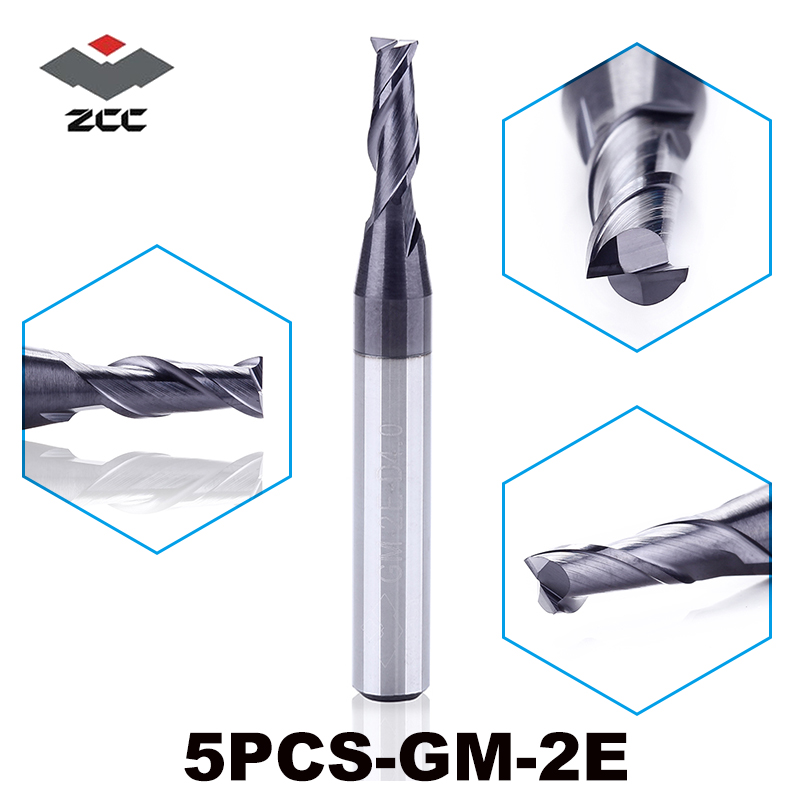 5pcs/lot High Quality ZCC.CT GM-2E Cemented Carbide Cnc 2 Flute Flattened End Mill With Straight Shank Milling Cutter 1.0-6.0mm