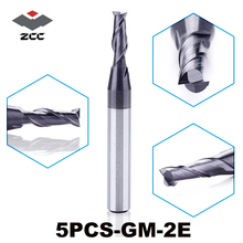 5pcs/lot High quality ZCC.CT GM 2E Cemented Carbide cnc 2 flute flattened end mill with straight shank milling cutter 1.0 6.0mm