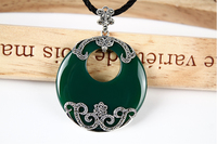 Green chalcedony Agate Pendant pendant gem sweater chain round large female Thai Silver Necklace Vintage Silver Jewelry