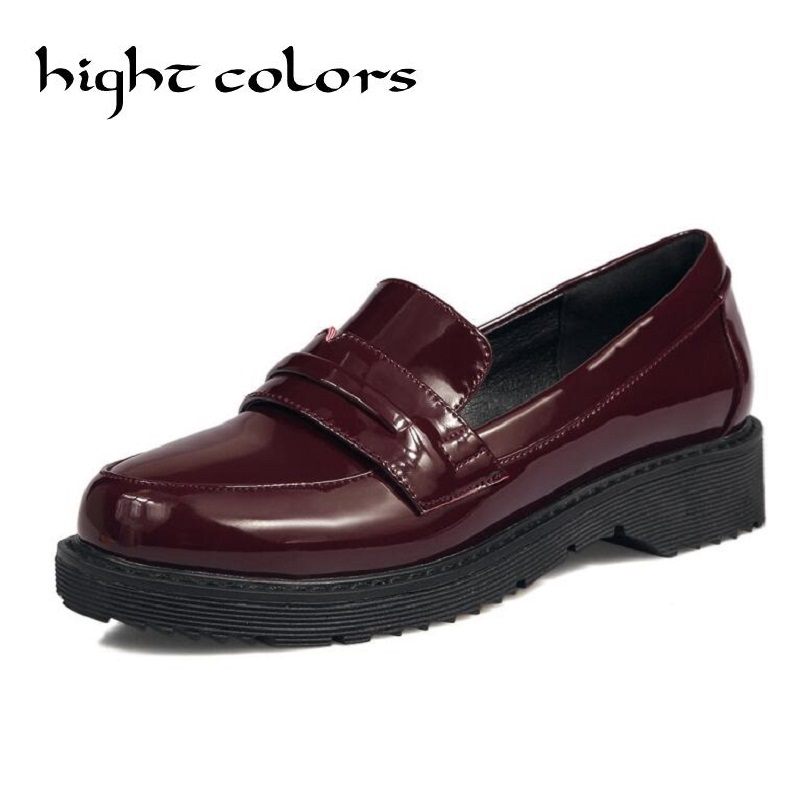New 2017 Patent Leather Slip-on Flat Oxford Shoes For Women Vintage England Style Round Toe Women Loafers Ladies Casual Flats new round toe slip on women loafers fashion bow patent leather women flat shoes ladies casual flats big size 34 43 women oxfords