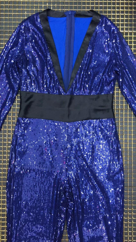 Da Streetwear Figura V Partito Sexy Con Delle Donne Alta Paillettes Della Intera Elegante Tuta Blu A Scollo Di Sera Qualità Del wAOZqxnnR