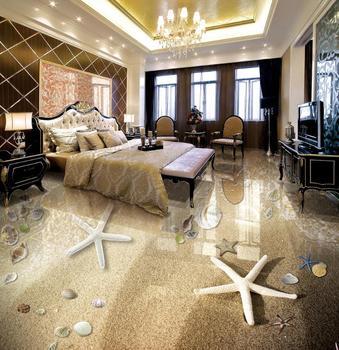 3d flooring Sea star conch shell flooring vinyl pvc kids bedroom wallpaper wall paper roll for living room floor tile