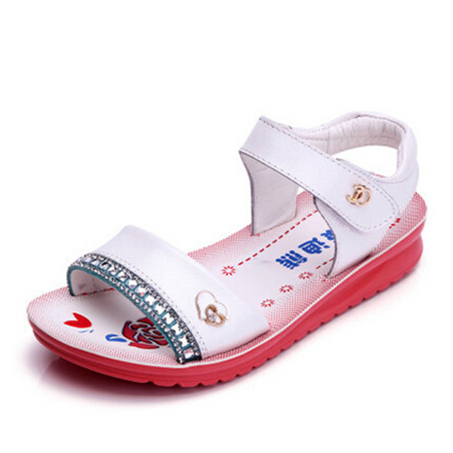 2016 Limited Time-limited Rhinestone Ankle-wrap Soft Genuine Rubber Elsa Shoes Fashion Shoes Flat Girls Heel Sandals Kids
