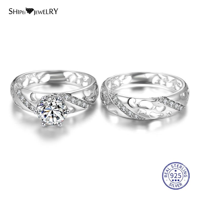 Shipei Belas Jóias 100% 925 Sterling Silver Branco Safira Anéis de Noivado Nupcial Set para Casal Presente de Aniversário