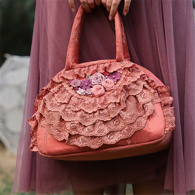 Femmes Totes dentelle Floral Lolita sacs bleu 2019 nouveaux sacs pour femmes mariée mariage sacs à la main Vintage soirée sacs de fête