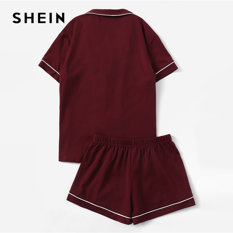 SHEIN Burgundy Contrast Piping Pocket Front Shirt And Shorts PJ Set Women Plain Button Short Sleeve Casual 2019 Nightwear