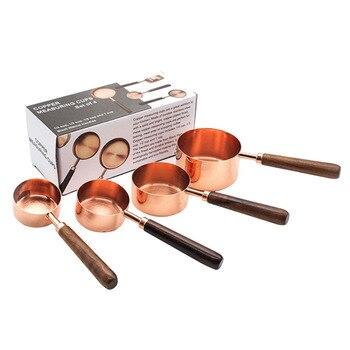 4 sztuk/zestawów różowe złoto ze stali nierdzewnej miarka 4 rozmiar kuchnia miarki miarka do pieczenia cukru kawy narzędzia pomiarowe