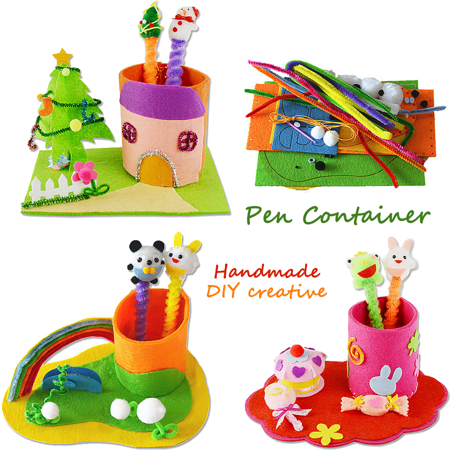DIY Handmade Felt Fabric Craft Pen Container,Non-woven Pen Holder Sewing Kits Project Art & Crafts Educational Toys For Kids