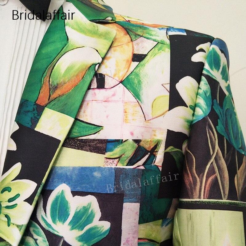Erkek Kıyafeti'ten T. Elbise'de Gwenhwyfar Özel Yapılmış Erkek Takım Elbise Smokin Yeşil Çiçek Baskılı Blazer Slim Fit Düğün Erkek Takım Elbise Seti 2 Adet Ceket ve siyah Pantol'da  Grup 3