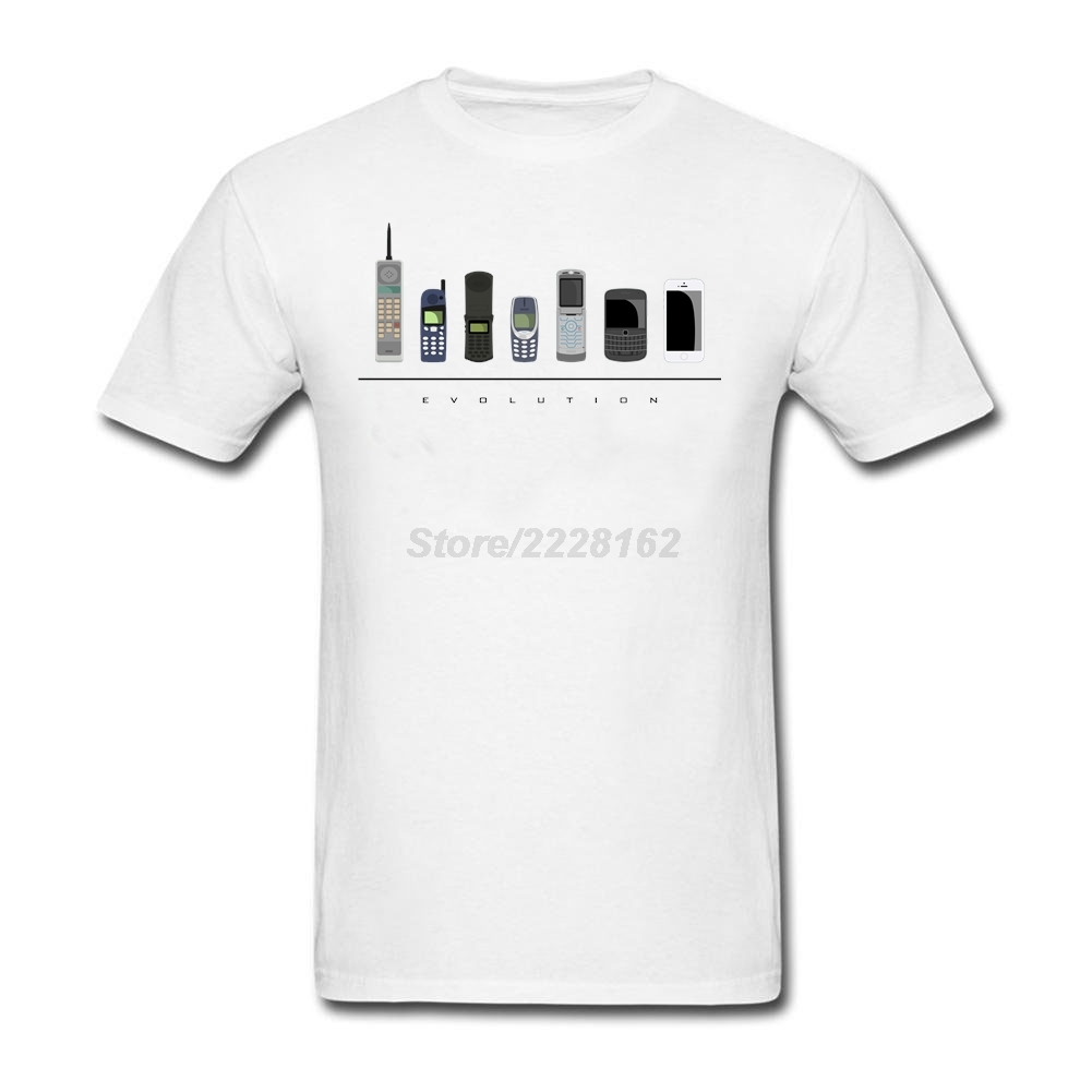 man Fitness Big Yards T-shirt Maker Phone Evolution Tee with Evolution of Telecoms Mens Slim Trendy DIY t shirt