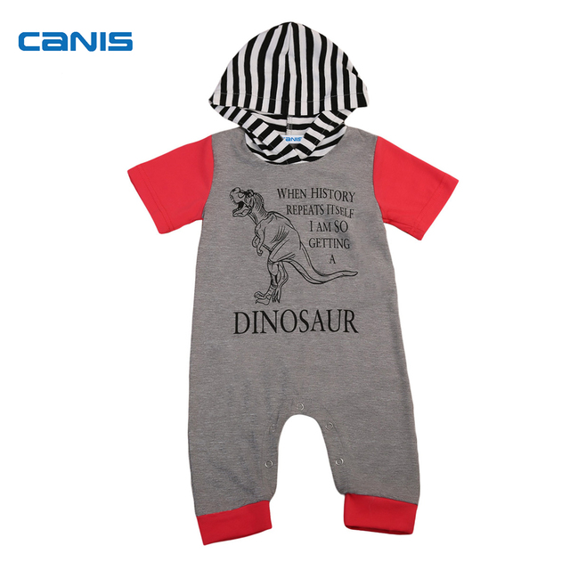 5f1fcb29a New Grey Dinosaur Newborn Kids Baby Boy Girl Cotton Romper Jumpsuit Hooded  Clothes Outfit