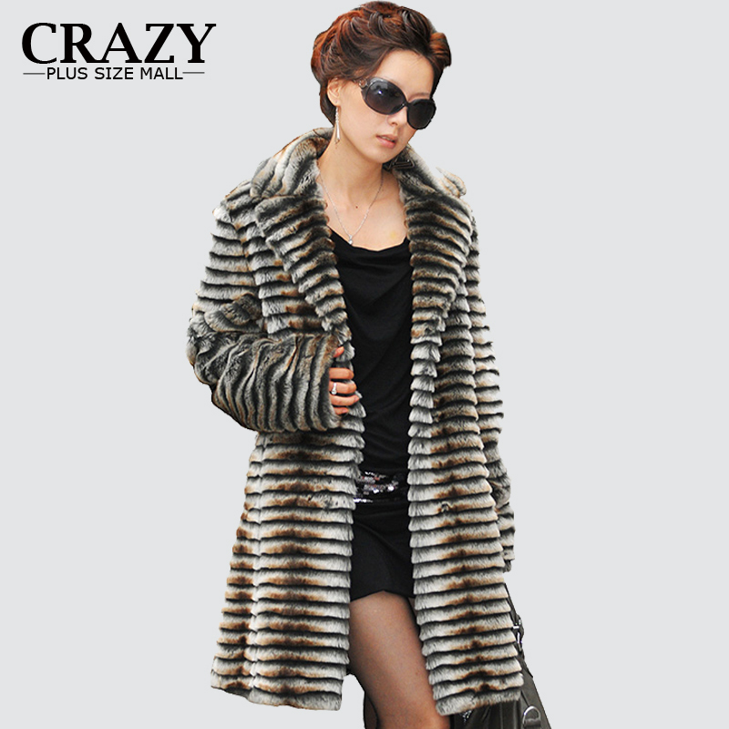 2019  Medium-long Water Marten Velvet Brown Faux Mink Fur Coat Plus Size Ladies Luxury Vintage Fake Fur Coats
