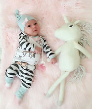 New  Baby Cotton Clothes Baby Sets Kids  Boy Girl Horse Long Sleeve Cotton Tops  and Pants  and Hat  6-12 Months