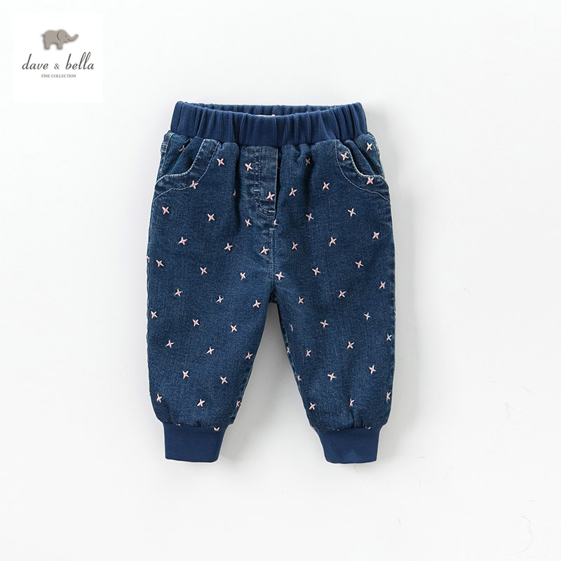DB4200 dave bella  baby girls embroidery denim blue pants girls jeans with lining women blue jeans flower embroidery regular female light blue casual pants capris autumn winter pockets pencil jeans bottom