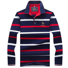 Spring autumn polo shirts High quality brand cotton mens shirt Business casual long sleeve solid striped men