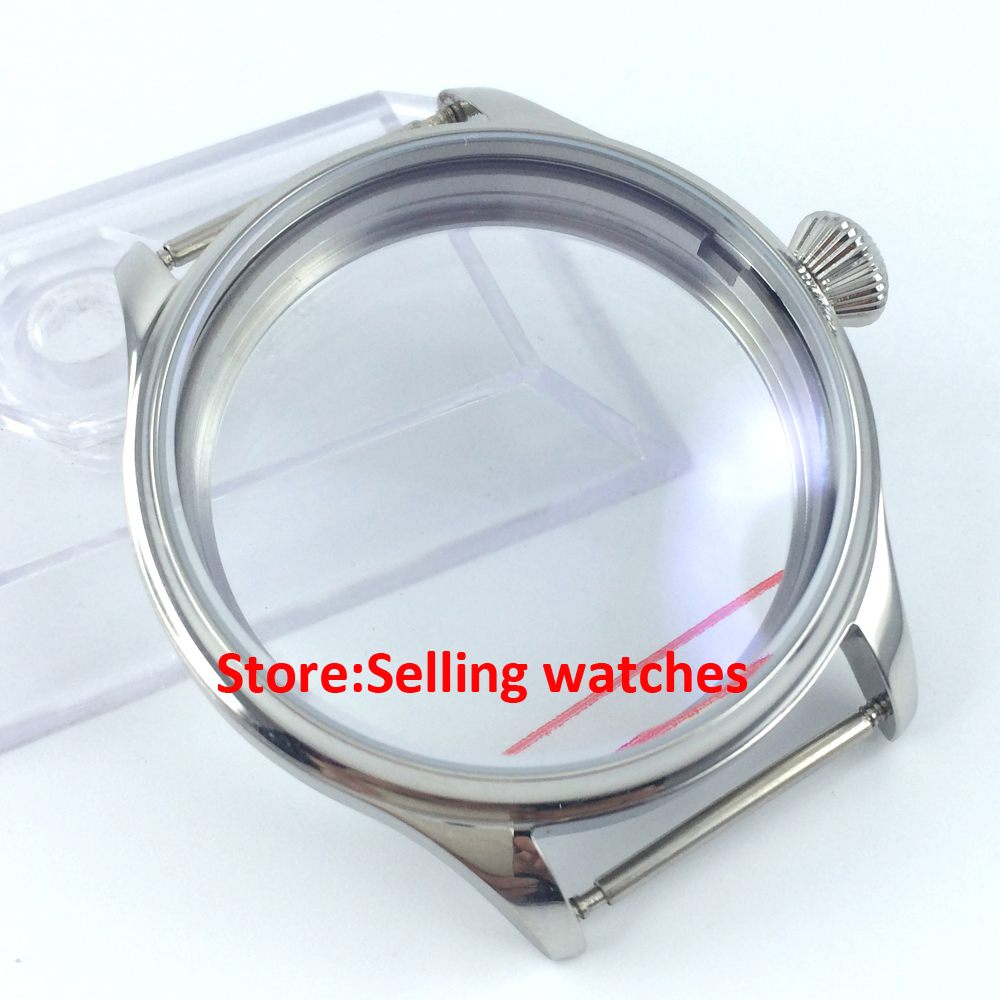 44mm 316L steel parnis watch CASE fit 6498 6497 eat movement 44mm parnis 316l stainless steel screw pvd case fit 6498 6497 movement