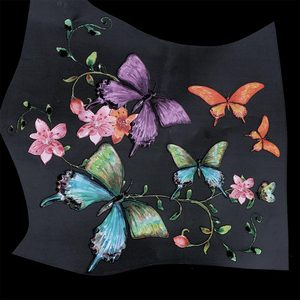 22*19.8cm Flower Butterfly Patch Iron On Appliques T-shirt Dresses Washable Heat Transfer Stickers Clothes DIY Patch(China)