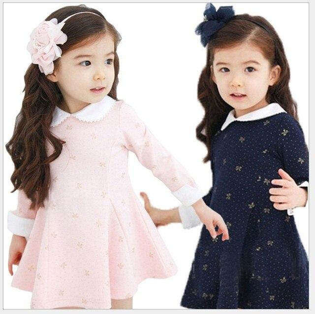 Осень/Зимнее платье для девочек утепленные Обувь для девочек теплый хлопок Письмо Платье Дети милая, стильная удобный материал