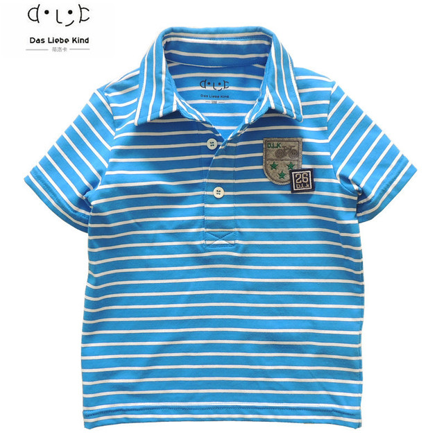 9034f3d75 طفل الفتيان العلامة التجارية T قميص قمصان بولو للأطفال الأطفال تي شيرت  شريطية قصيرة الأكمام الملابس