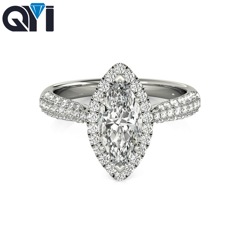 QYI Marquise Cut Simulated Diamond engagement Rings For Women 925 Sterling Silver Multi Row CZ Halo RingsQYI Marquise Cut Simulated Diamond engagement Rings For Women 925 Sterling Silver Multi Row CZ Halo Rings