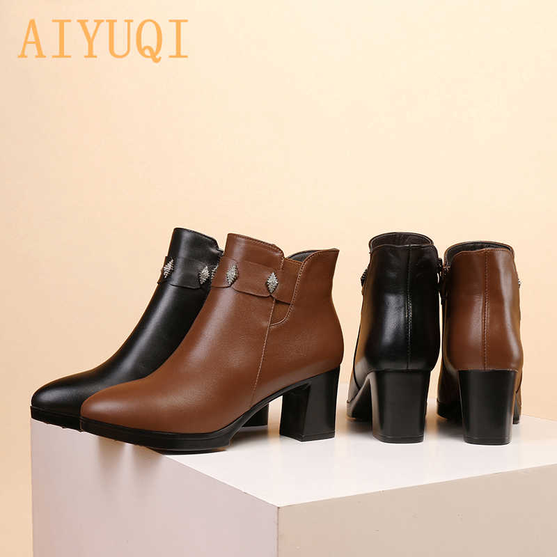 AIYUQI ของแท้หนังหญิงฤดูหนาว boots รองเท้า cowhide กันน้ำขนสัตว์เรียงรายแฟชั่นผู้หญิง booties หญิงเปลือยรองเท้าสีดำ