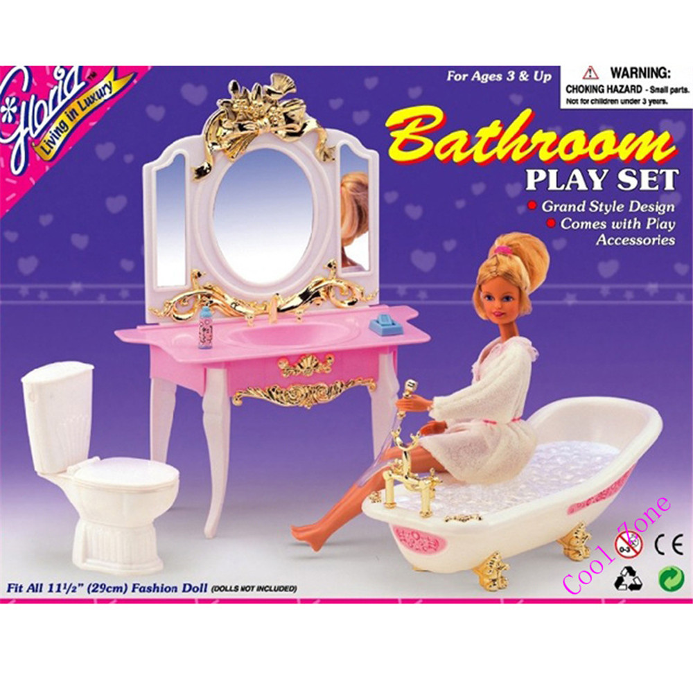 Miniature Furniture My Fancy Life Bathroom for Barbie Doll House Best Gift Toys for Girl Free Shipping italiano platinum deluxe