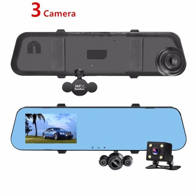 Ecartion New Car DVR 3 Lens Dash Cam Night Vision Rearview Mirror Video Recorder HD 1080P Car Camera Parking Reverse Image