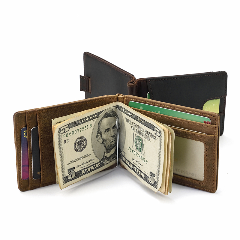 MAHEU Top Grade Brand Genuine Leather Money Clip Wallet Dollar Cash Card Cowskin Male Men's Clip Purse Wallet Business Card