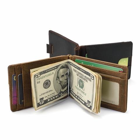 Marca de Couro Grampo do Dinheiro dos Homens Clipe de Dinheiro Carteira de Negócios Maheu Top Grade Genuíno Carteira Dólar Cartão Cowskin Masculino Bolsa Cartão