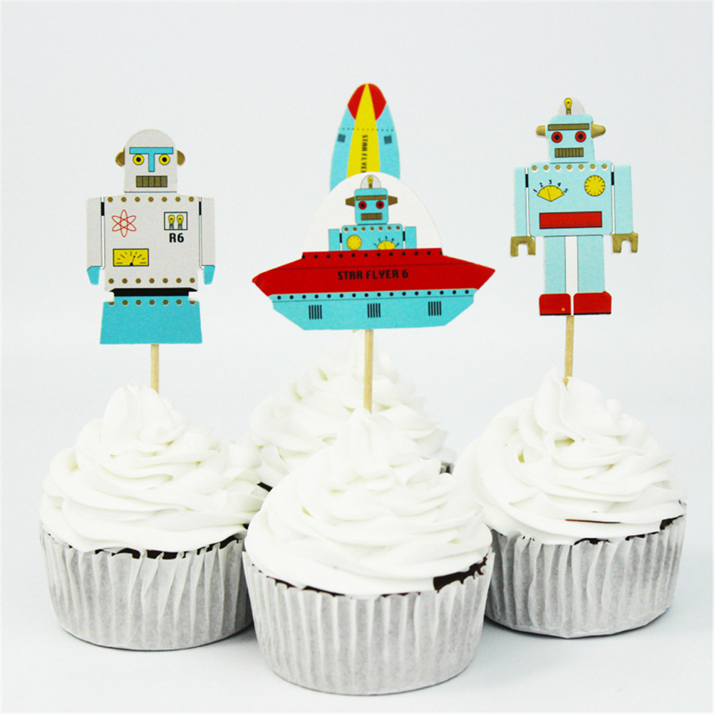 24pcs Baby Shower Favors Cupcake Toppers Birthday Party Decoration Aviation Robot Rocket Cake Toppers