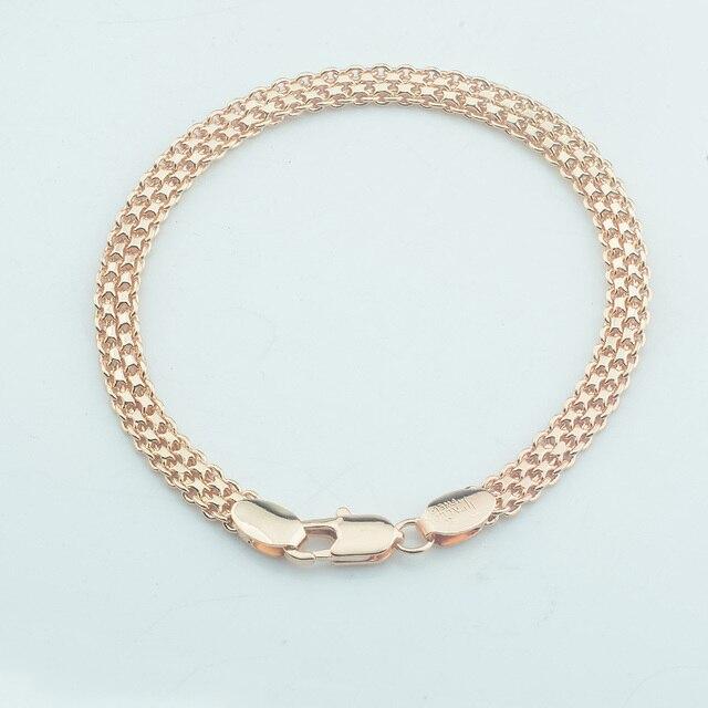 1 sztuk 3mm 17 cm 19 cm mężczyźni kobiety 585 różowe złoto kolor skręcone bransoletki łańcuchy