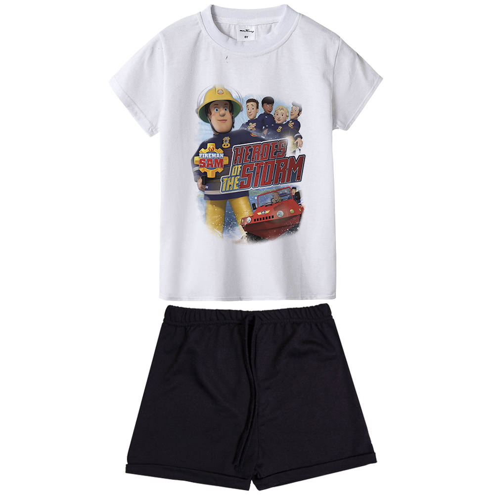 Clothing Sets Fireman Sam Kids Summer Clothes Sets Cartoon Printed T-shirt Boys' Clothing Pants Kids Boys Clothing 2 Pcs Clothing Sets Children Suit