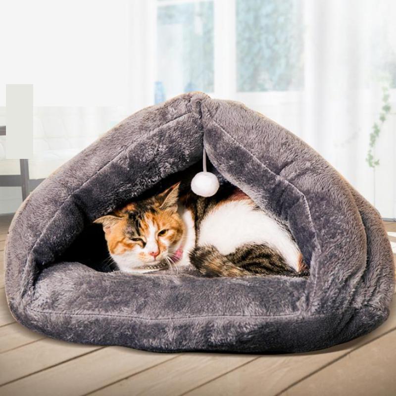 Maison d'hiver pour chat chaud coton chien produits pour animaux de compagnie Mini chat Pet chien lit doux confortable 3 couleur gris marron Rose rouge S M