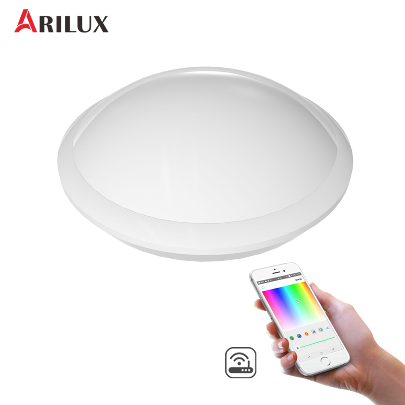 ARILUX 30W RGB+W+WW Wifi Smart LED Ceiling Light IR Remote and APP Voice Control 1700LM Night Lamp Work with Al mini wifi rgb strip light controller with music control and voice control compatible with google home