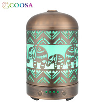 COOSA Vintage Handmade Metallic Craft Air Humidifier 100ml Essential Oil Diffuser 7 Color LED Light Aroma for Baby Gift