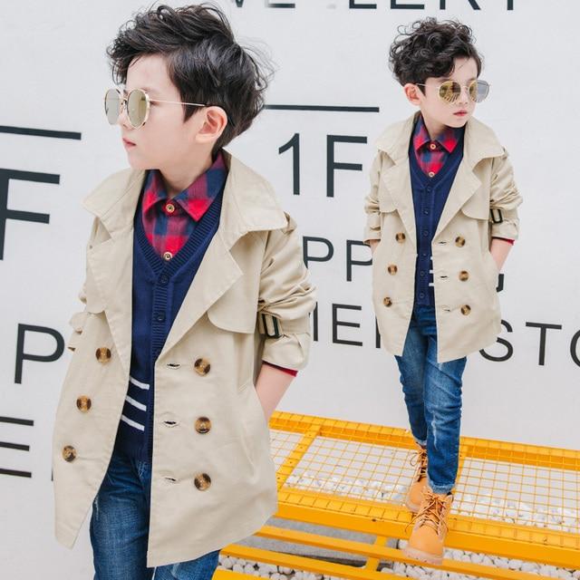 2f1b7702bd0a Toddler Boys Coats Children Baby Clothes Long Sleeve Khaki Jacket ...