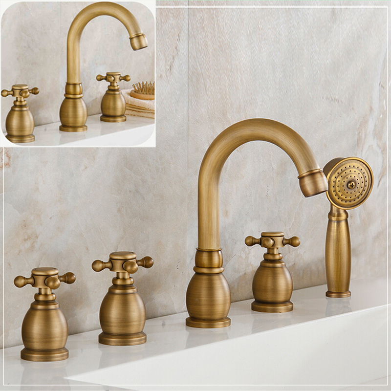 Retro Style Brass Antique Bath and Shower Faucet Widespread Deck Mounted Tub Sink Mixer Taps Brass Handshower цена