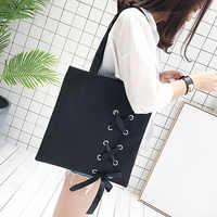 Nuevo bolso de mano de lona informal con cordones para mujer, bolsos de hombro de lona para mujer, bolso de playa para mujer (negro)