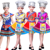 Chinese Folk Dance Costume Children Hmong Chinese National Traditions Clothes Girls Miao Dance Costume Stage wear Performance