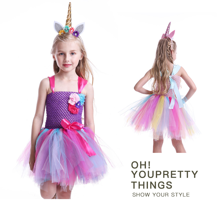 Kids Girls Unicorn Tutu Dress with Headband Knee-Length Pastel Rainbow Flower Girl Dress Kids Halloween Pageant Party Costume (9)