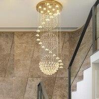 Modern long staircase crystal chandelier lighting fixtures hanging lustre cristal loft chandelier lights