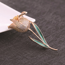 Elegant Tulip Flower Brooch Pin For Women Fashion Costume Jewelry Clothes Accessories Brooches Wedding
