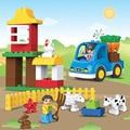 39 unids Gran Tamaño Feliz Granja de Animales Building Blocks Establece Ladrillos Modelo Animal Juguetes Educativos Compatible Con legoeINGlys Duplos