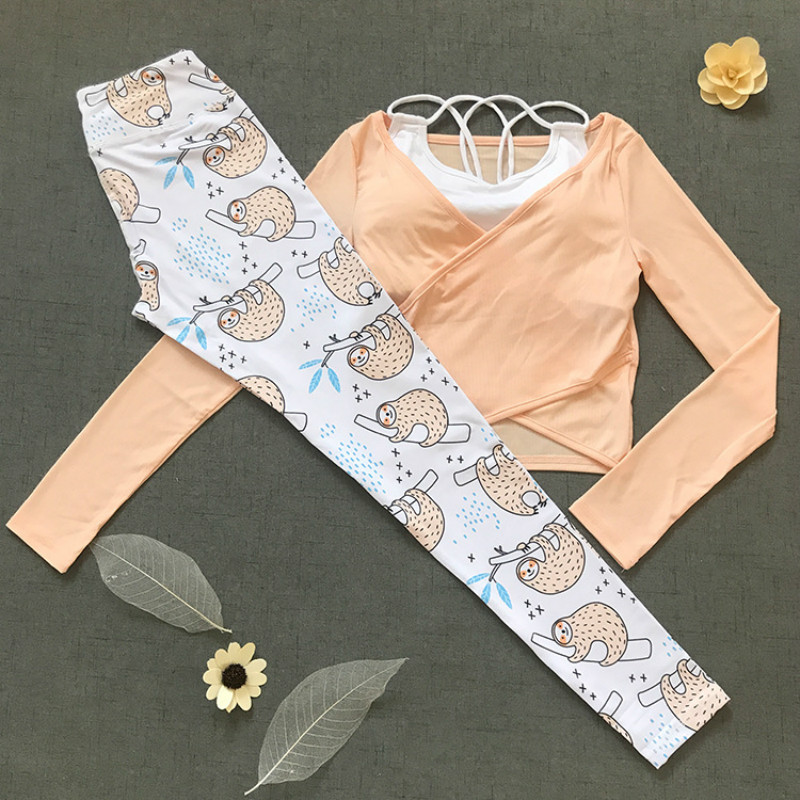цена на Colorvalue 3Pcs/Set Cute Printed Jogging Sport Suit Women Solid Sport Bra Long Sleeve Shirt HIgh Waist Leggings Yoga Fitness Set