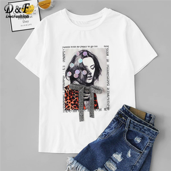 White Bow Front Sequin Detail Figure Print Streetwear Tee