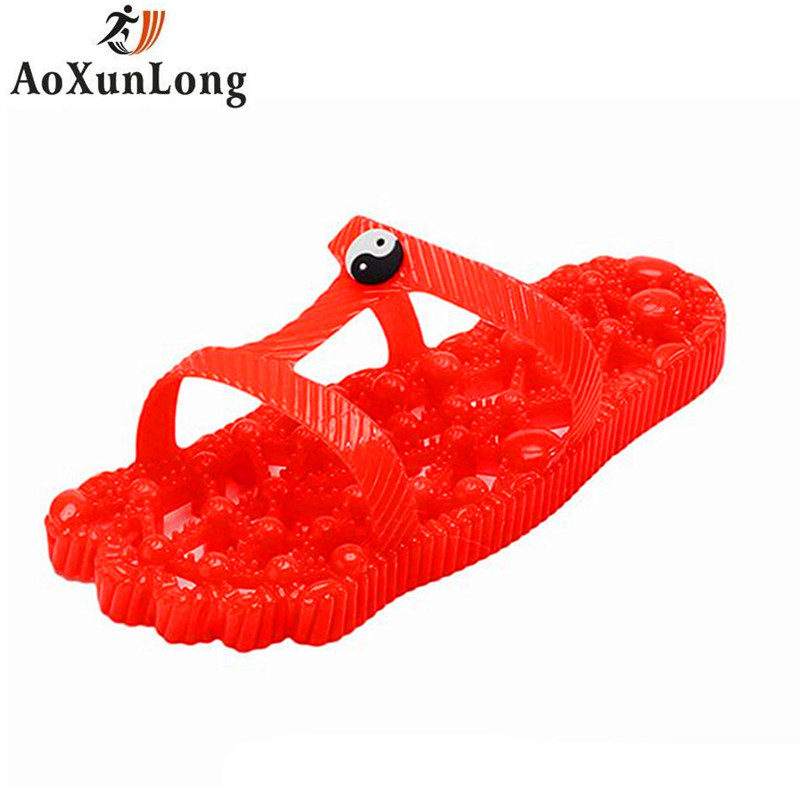 AoXunLong Men Slippers PVC Chinese Medicine Point Massage Slippers Take A Bath Hollow Leaking Water Home Slippers Unisex 37-44 9